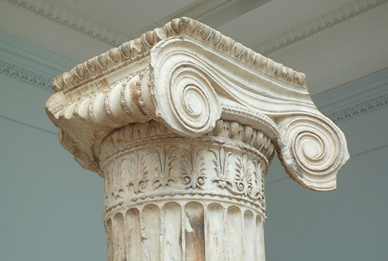 Ionic Capital, North Porch of the Erechtheion, Acropolis, Athens, marble, 421-407 B.C.E., British Museum (photo: Steven Zucker CC:BY-NC-SA 2.0)
