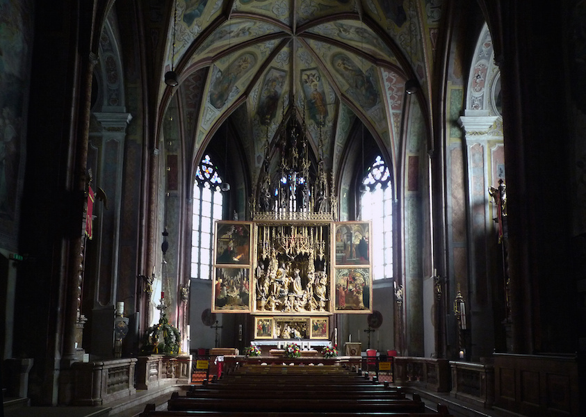 View down the nave to the altarpiece by Michael Pacher (1471-81), Parish Church, Sankt Wolfgang, Austria (photo: Steven Zucker, CC BY-NC-SA 2.0)