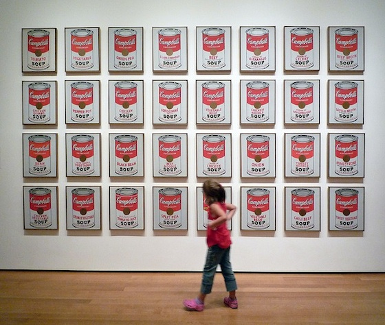 Andy Warhol, Campbell's Soup Cans, 1962, synthetic polymer paint on thirty-two canvases, each 50.8 x 40.6 cm (The Museum of Modern Art, New York)