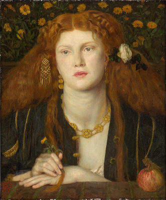 Dante Gabriel Rossetti, Bocca Baciata (Lips That Have Been Kissed), 1859, oil on panel, 32.1 x 27 cm (Museum of Fine Arts, Boston)