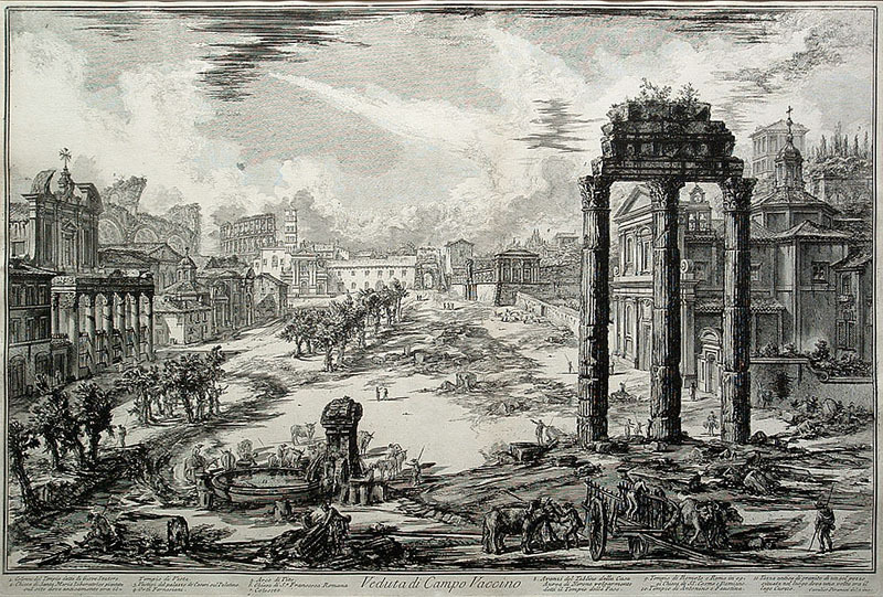 "Giovanni Battista Piranesi, ""Veduta di Campo Vaccino,"" Views of Rome, plate 82, 18 x 27.75 inches, etching, 1772"