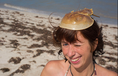 Lauren wearing a horseshoe crab as a hat