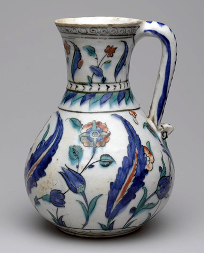 Iznik Ewer, 2nd half of the 16th century (Ottoman), fritware, painted in black, cobalt blue, green, and red under a transparent glaze, 17-7/8 x 15-1/2 inches / 45.4 x 39.4 cm (photo: Brooklyn Museum, CC BY 3.0) http://www.brooklynmuseum.org/opencollection/objects/2937/Jug#
