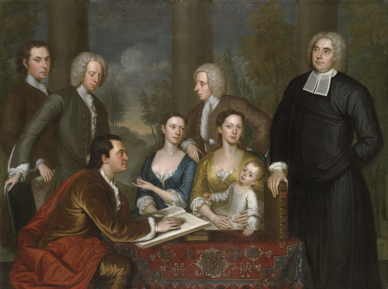 "John Smibert, The Bermuda Group, 1728, reworked 1739, oil on canvas, 69 1/2 x 93"" / 176.5 x 236.2 cm (Yale University Art Gallery)"