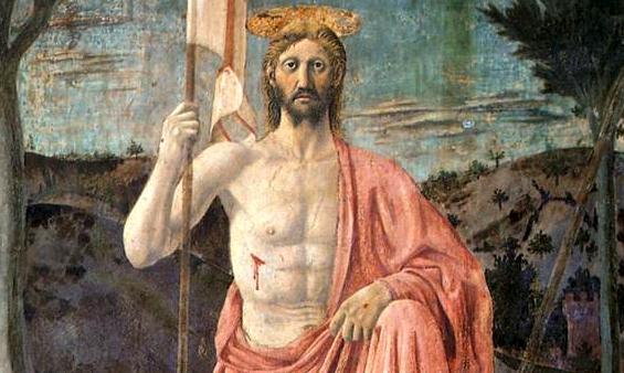 Christ framed by flag and two trees (detail), Piero della Francesca, The Resurrection, c. 1463-5, fresco, 225 x 200 cm (Museo Civico, Sansepolcro)