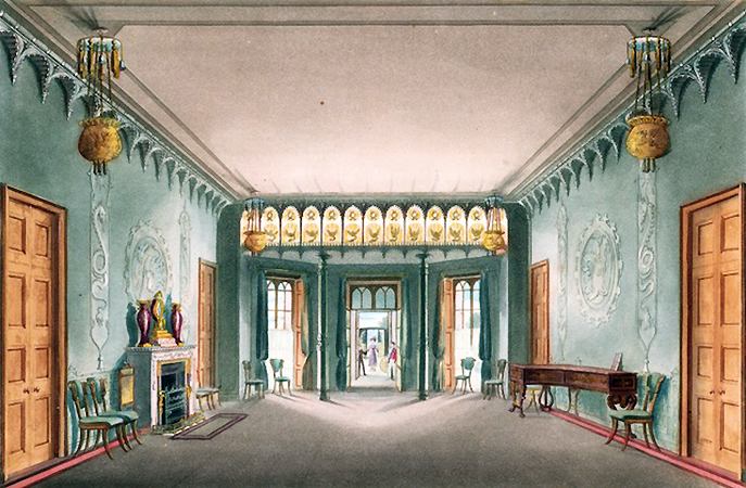 "John Nash, ""Entrance Hall,"" Illustrations of Her Majesty's Palace at Brighton, J. B. Nichols and Son, London, 1838, etching and aquatint, brush and watercolor, letterpress on white wove paper"