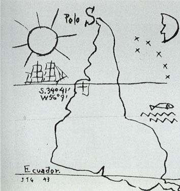 Joaquin Torres García, América Invertida (Inverted America), 1943, ink on paper, 22 x 16 cm (Fundación Torres García, Montevideo)