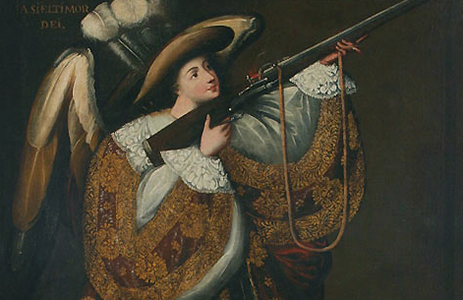 Master of Calamarca (detail), Archangel with Gun, Asiel Timor Dei, before 1728, oil on canvas and gilding, 160 x 110 cm (Museo Nacional de Arte, La Paz, Bolivia)