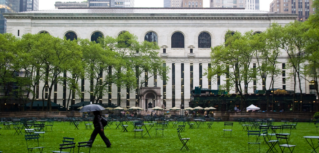 Back of The New York Public Library facing Bryant Park, New York, NY (photo: strangejourney, CC BY-NC-ND 2.0)