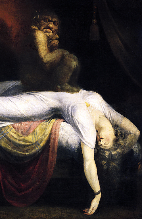 Incubus (detail), Henry Fuseli, The Nightmare, 1781, oil on canvas, 180 × 250 cm (Detroit Institute of Arts)