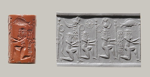 Cylinder Seal with Kneeling Nude Heroes, c. 2220-2159 B.C.E., Akkadian (Metropolitan Museum of Art) Cylinder Seal (with modern impression), showing Kneeling Nude Heroes, c. 2220-2159 B.C.E., Akkadian (The Metropolitan Museum of Art)
