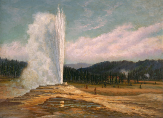 "Grafton Tyler Brown, Old Faithful Geyser, Yellowstone National Park, 1887, oil on canvas, 22 x 3"" / 55.9 x 76.2 cm (Stark Museum of Art, Orange, Texas)"
