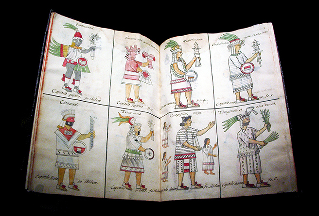 Aztec deities, Bernardino de Sahagún and collaborators, General History of the Things of New Spain, also called the Florentine Codex, vol. 1, 1575-1577, watercolor, paper, contemporary vellum Spanish binding, open (approx.): 32 x 43 cm, closed (approx.): 32 x 22 x 5 cm (Medicea Laurenziana Library, Florence, Italy)