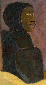 Figure in background (detail), Paul Gauguin, Spirit of the Dead Watching, 1892, oil on burlap mounted on canvas, 116.05 x 134.62 x 13.34 cm (Albright-Knox Art Gallery, Buffalo, NY)
