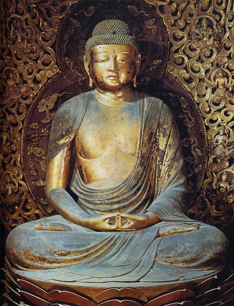 Jōchō, Amida Buddha, Heian Period, c. 1053, wood covered with wood leaf, 295 cm (Phoenix Hall, Byodo-in, Kyoto)