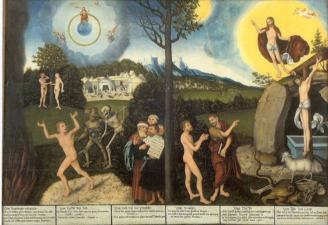 Lucas Cranach, The Law and the Gospel, c. 1529, oil on wood, 82.2 × 118 cm / 32.4 × 46.5 in (Schlossmuseum, Gotha, Germany)