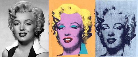 Publicity still for the film Niagara, 1953 left; center and right, details from: Andy Warhol, Marilyn Diptych, 1962, acrylic on canvas, 2054 x 1448 mm (Tate) © The Andy Warhol Foundation for the Visual Arts, Inc. 2015