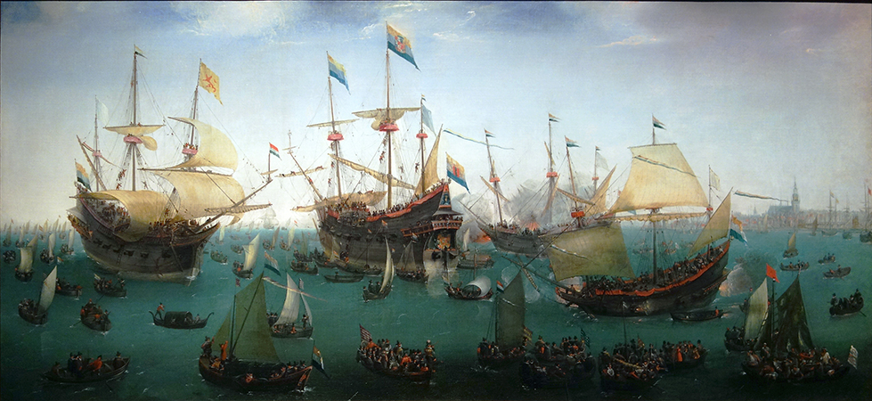 Hendrik Cornelisz Vroom, The Return to Amsterdam of the Second Expedition to the East Indies, 1599, oil on canvas (Rijksmuseum)