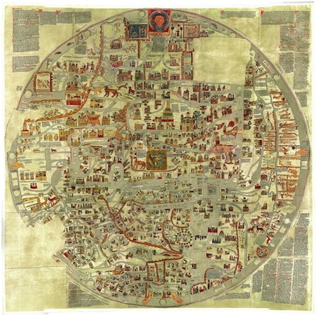 Gervase of Ebstorf, Ebstorf Map, manuscript map on goat skin, 3.6m x 3.6m, 13th century. Originally in the Ebstorf convent, but destroyed in 1943 during W