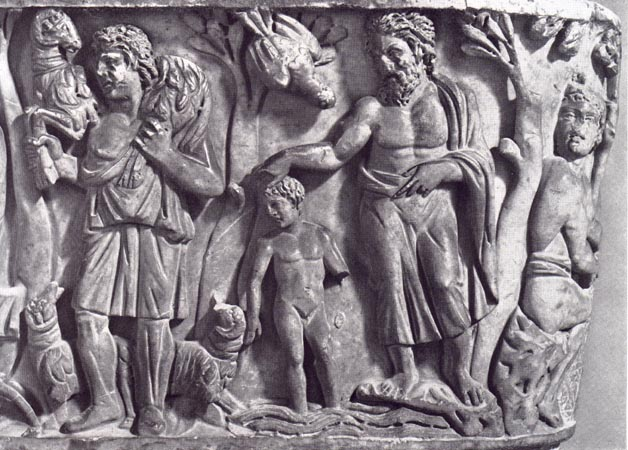 Detail of Christ as the Good Shepherd (left) and the Baptism of Christ (right), Santa Maria Antiqua Sarcophagus, 3rd century CE, from the Church of Santa Maria Antiqua, Rome