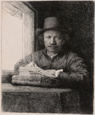 Rembrandt, Self-Portrait Drawing at a Window, 1648, etching, drypoint and burin on ivory laid paper, 15.6 x 13 cm (Art Institute of Chicago)