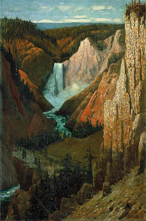 Grafton Tyler Brown, View of the Lower Falls, Grand Canyon of the Yellowstone, 1890, oil on canvas, 30 1/4 x 20 1/8 inches / 76.9 x 51.2 cm. (Smithsonian American Art Museum)