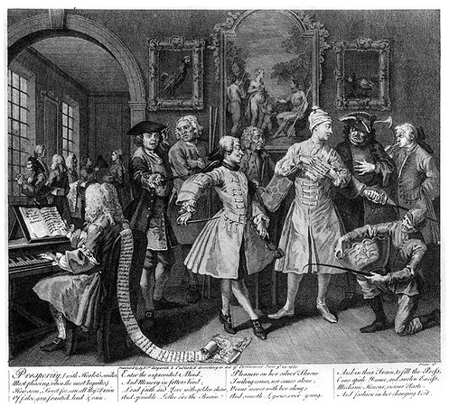 "William Hogarth, A Rake's Progress, plate 2, ""Surrounded by Artists and Professors,"" 1735, engraving on paper, 35.5 x 31 cm"
