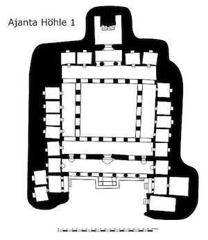 Plan of cave 1 at Ajanta