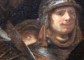 Rembrandt's self-portrait—just one eye and a beret? (detail), Rembrandt, Officers and Men of the Company of Captain Frans Banning Cocq and Lieutenant Wilhelm van Ruytenburgh, known as the Night Watch, 1642, oil on canvas, 379.5 x 453.5 cm (Rijksmuseum, Amsterdam)