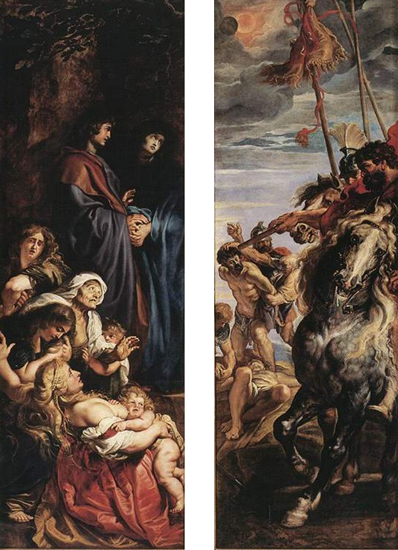 Side panels, Peter Paul Rubens, Elevation of the Cross, from Saint Walburga, 1610, oil on wood, center panel: 15 feet 1-7/8 inches x 11 feet 1-1/2 inches (now in Antwerp Cathedral)