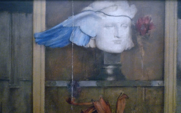 Bust of Hypnos, the Greek god of sleep and a red poppy (detail), Fernand Khnopff, I Lock my Door Upon Myself, 1891, oil on canvas, 72.7 x 141 cm (Neue Pinakothek, Munich)