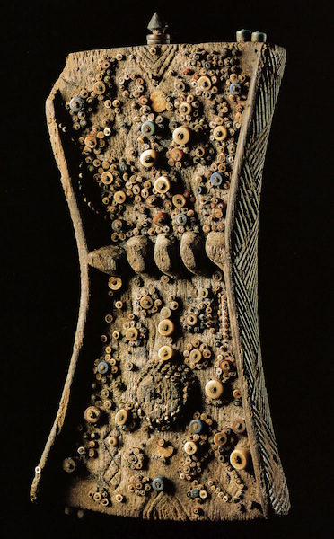 Lukasa (memory board), Mbudye Society, Luba peoples (Democratic Republic of Congo, c. 19th to 20th century, wood, beads and metal