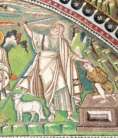 Sacrifice of Isaac, mosaic, early 6th century, San Vitale, Ravenna, Italy
