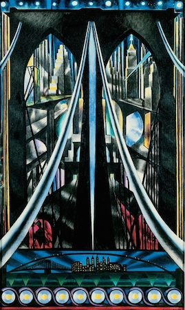 Joseph Stella, The Brooklyn Bridge: Variation on an Old Theme, 1939, oil on canvas, 70 × 42 inches / 177.8 × 106.7 cm (Whitney Museum of American Art)