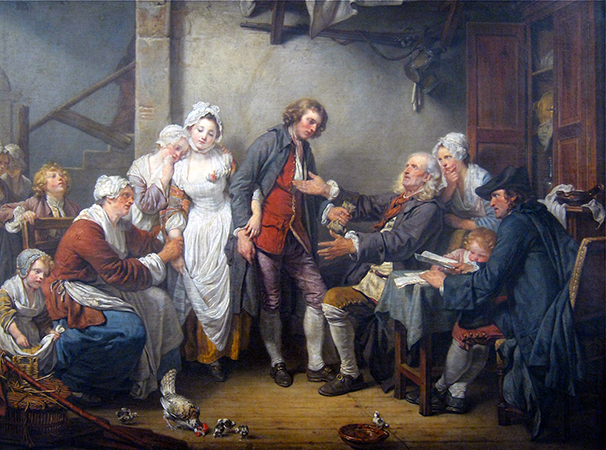Jean-Baptiste Greuze, The Village Bride (slightly cropped), 1761, oil on canvas, 36 x 46 1/2 inches / 91.4 x 118.1 cm (Musée du Louvre, Paris)