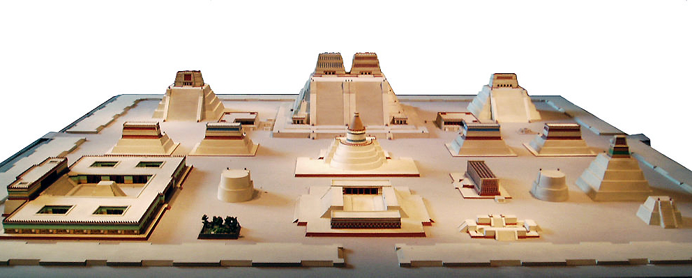 Model of the sacred precinct in Tenochtitlan (National Anthropological Museum, Mexico City) (photo (edited), Steve Cadman, CC BY-SA 2.0)