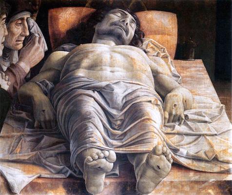 Andrea Mantegna, Dead Christ, tempera on canvas, c. 1480 - 1500 (Pinacoteca di Brera, Milan)