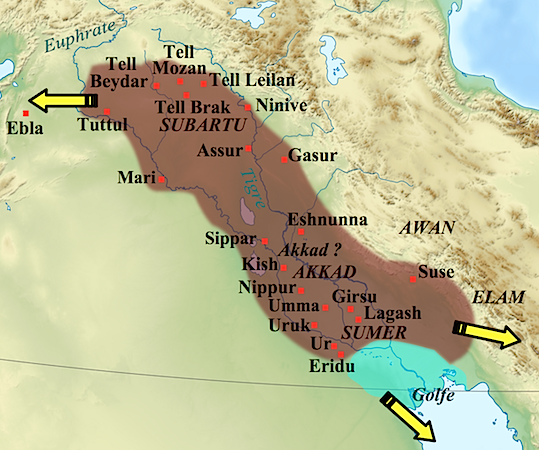 Map showing the approximate extension of the Akkad empire during the reign of Narâm-Sîn, yellow arrows indicate the directions in which military campaigns were conducted