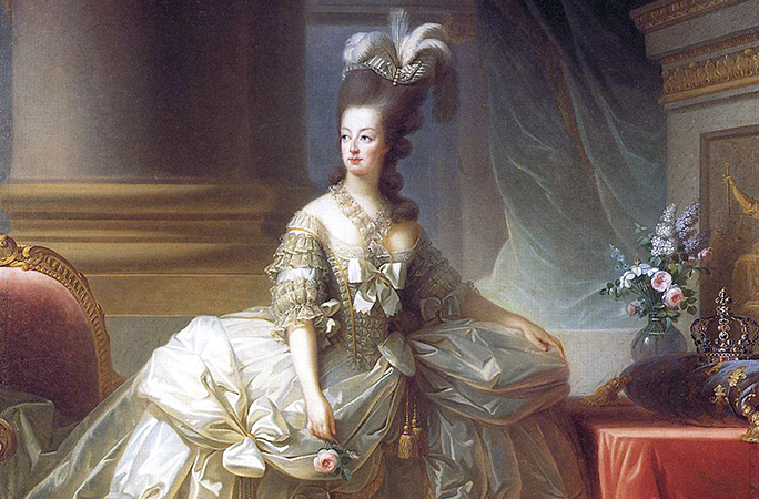 Detail, Élisabeth Louise Vigée-LeBrun, Archduchess Marie Antoinette, Queen of France, 1778, oil on canvas, 273 x 193.5 cm (Kunsthistorisches Museum, Vienna)