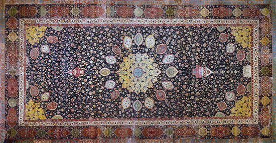 Medallion Carpet, The Ardabil Carpet, Unknown artist (Maqsud Kashani is named on the carpet's inscription), Persian: Safavid Dynasty, silk warps and wefts with wool pile (25 million knots, 340 per sq. inch), 1539-40 C.E., Tabriz, Kashan, Isfahan or Kirman, Iran (Victoria and Albert Museum)