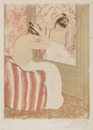 Mary Cassatt, The Coiffure, 1890-1891, drypoint and aquatint on laid  paper plate: 36.5 x 26.7 cm (14 3/8 x 10 ½ in.), sheet: 43.2 x 30.7 cm (17 x 12 1/6 in.), Chester Dale Collection, National Gallery of Art, Washington, D.C.