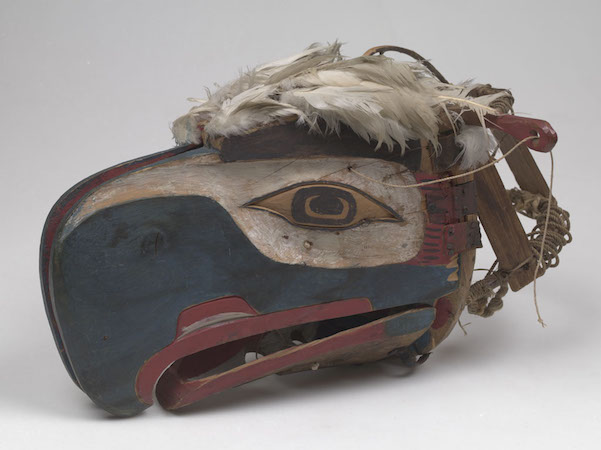 Kwakwaka'wakw artist, Eagle Mask closed, late 19th c., from Alert Bay, Vancouver Island, British Columbia, Canada, cedar wood, feathers, sinew, cord, bird skin, hide, plant fibers, cotton, iron, pigments, 37 x 57 x 49 cm (American Museum of Natural History)
