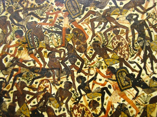 Chaotic fighting scene on a painted box from the tomb of Tutankhamen in the Egyptian Museum, Cairo (New Kingdom). Photo: Dr. Amy Calvert