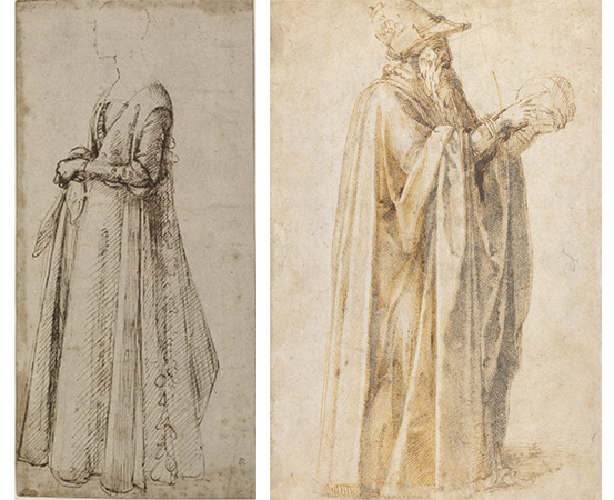 Left: Domenico Ghirlandaio, Standing Woman, 1485-90, pen and brown ink, 19.04 x 30.48 cm, Right: Michelangelo, An old man wearing a hat (Philosopher), c. 1495-1500, pen and brown ink, 33.1 x 21/5 cm. Both, © Trustees of the British Museum.