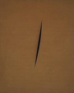 Lucio Fontana, Spatial Concept: Expectations, 1960, slashed canvas and gauze, 100.3 x 80.3 cm (MoMA) © 2013 Fondation Lucio Fontana