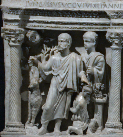 Sacrifice of Isaac, Sarcophagus of Junius Bassus, 359 C.E., marble, (Treasury of St. Peter's Basilica)