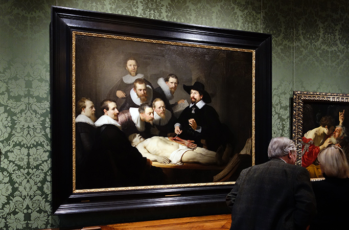 View of Rembrandt van Rijn, The Anatomy Lesson of Dr. Tulp hanging in the Mauritshuis in The Hague (Netherlands)