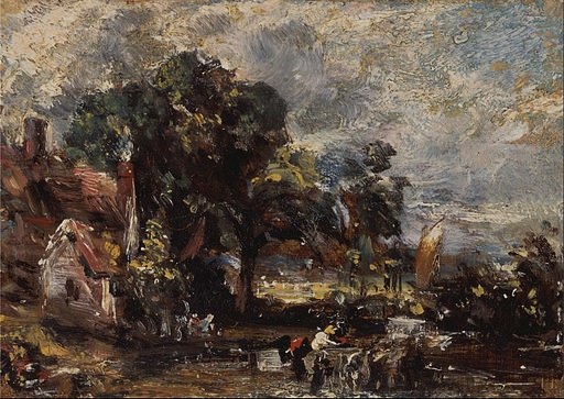 "John Constable, Sketch for ""The Hay Wain,"" c. 1820, oil on canvas laid to paper, 4 7/8 × 7 inches (Yale Center for British Art, Paul Mellon Collection)"