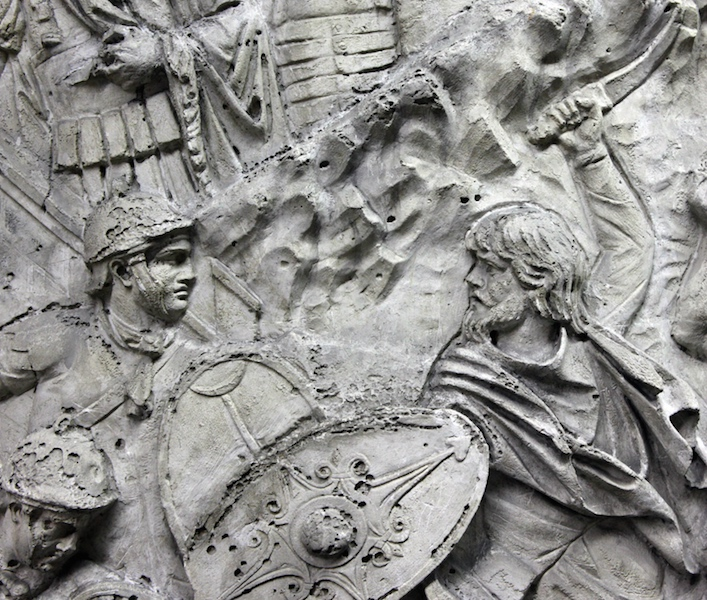 """Scene from the second Dacian War, the Dacians plan a new offensive and attack a Roman Fort and engage with Roman troops. Many Dacians, however, fall in the wake of a strong Roman counteroffensive,"" (detail), Column of Trajan, dedicated 113 C.E., Rome (source for image and caption: Trajan's Column Website, Professor Roger B. Ulrich, Dartmouth College)"