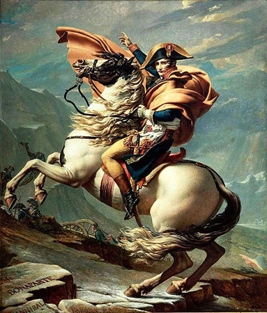 Jacques-Louis David, Napoleon Crossing the Alps or Bonaparte at the St Bernard Pass, 1800-1, oil on canvas, 261 x 221 cm (Chateau de Malmaison, Rueil-Malmaison)